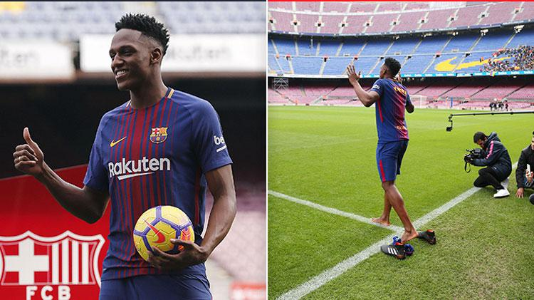 Why did yerry mina complete his barcelona unveiling barefoot stopboris Choice Image