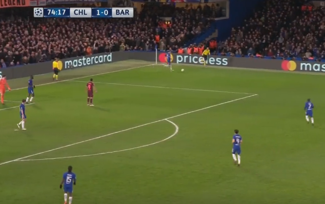 Suarez can be seen arguing with the linesman, as Chelsea regain possession
