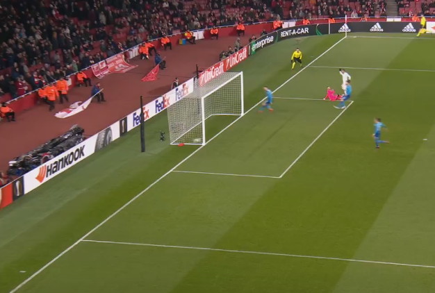 And slots home past Ospina