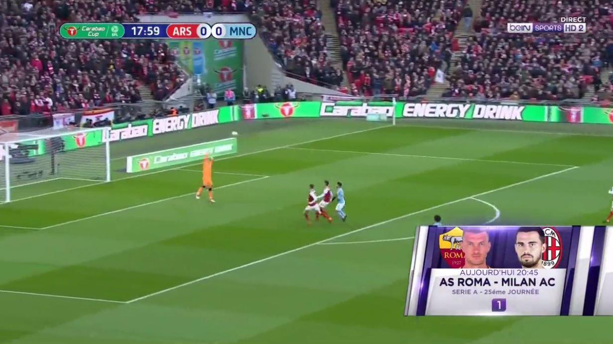 And with Ospina caught in no man's land, he opts for the lob (Ignore the ad for Roma v Milan)