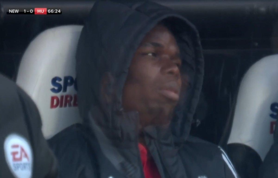 A miserable Pogba on the Man United bench