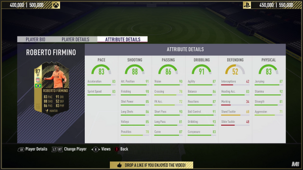 Firmino's stats before the upgrade