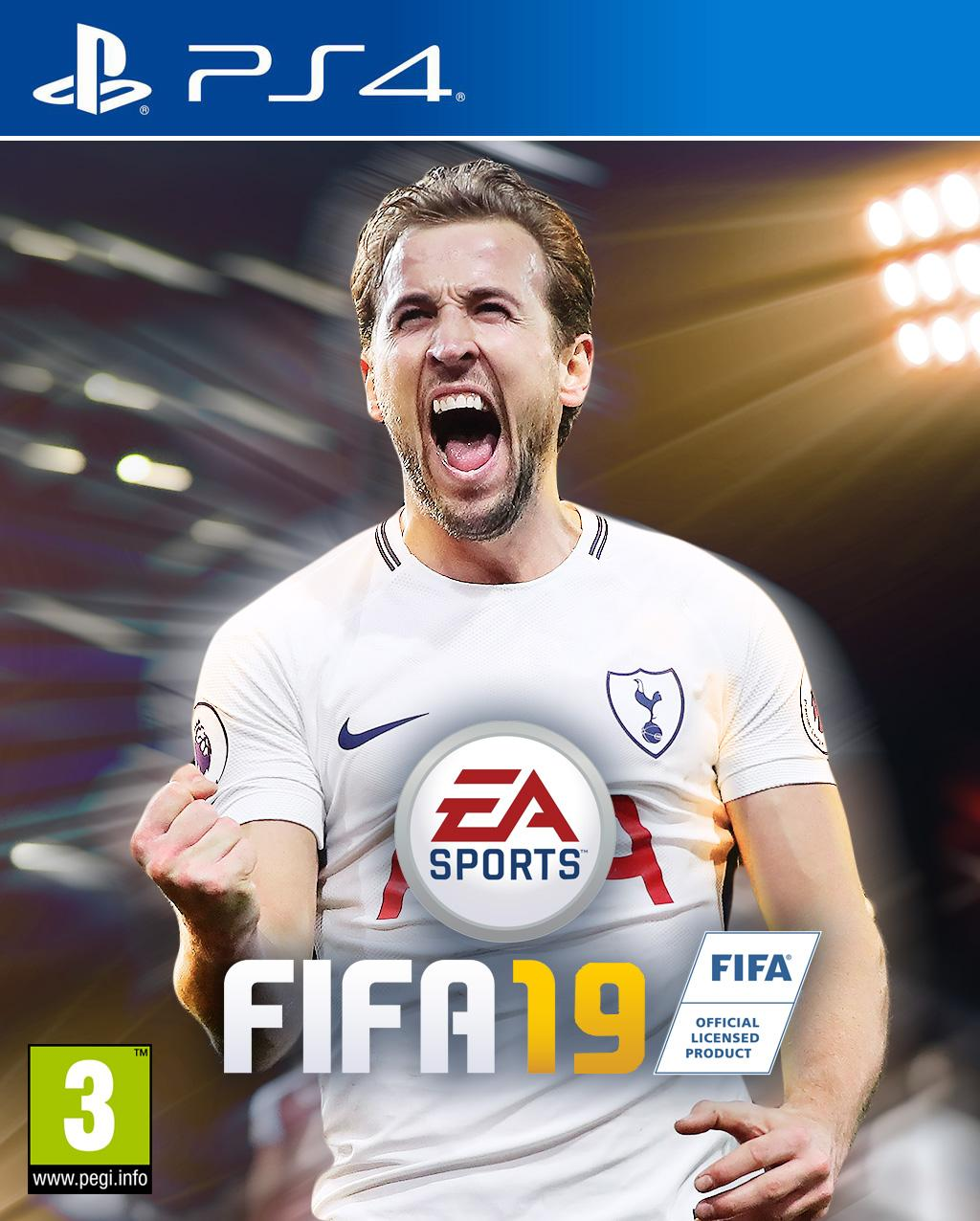 Our mocked up version of Harry Kane on the front of FIFA 19
