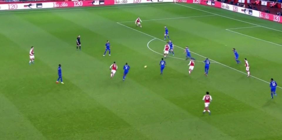 Mesut Ozil played the ball into Aubameyang's feet