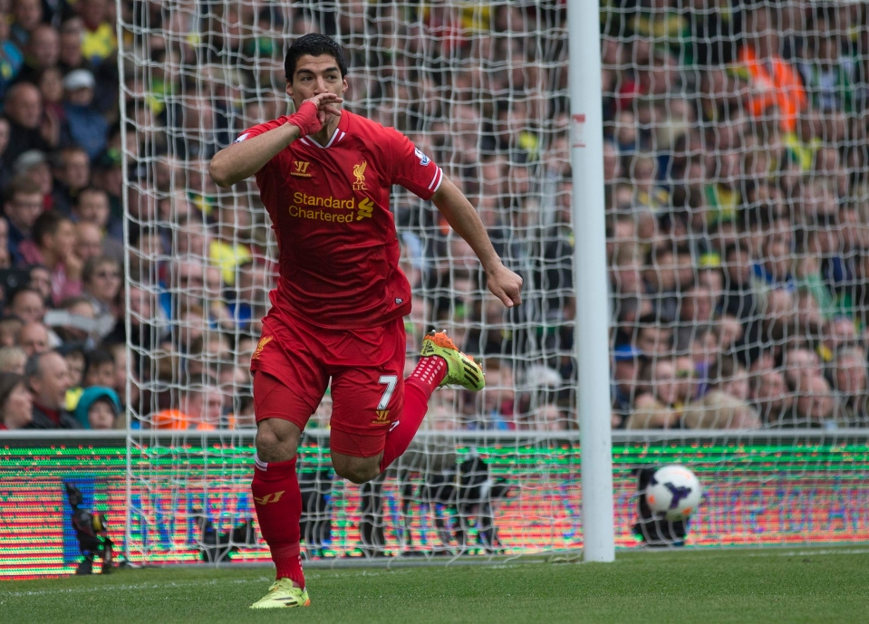 Suarez scored 31 in 2013/14… but all of them came in the Premier League
