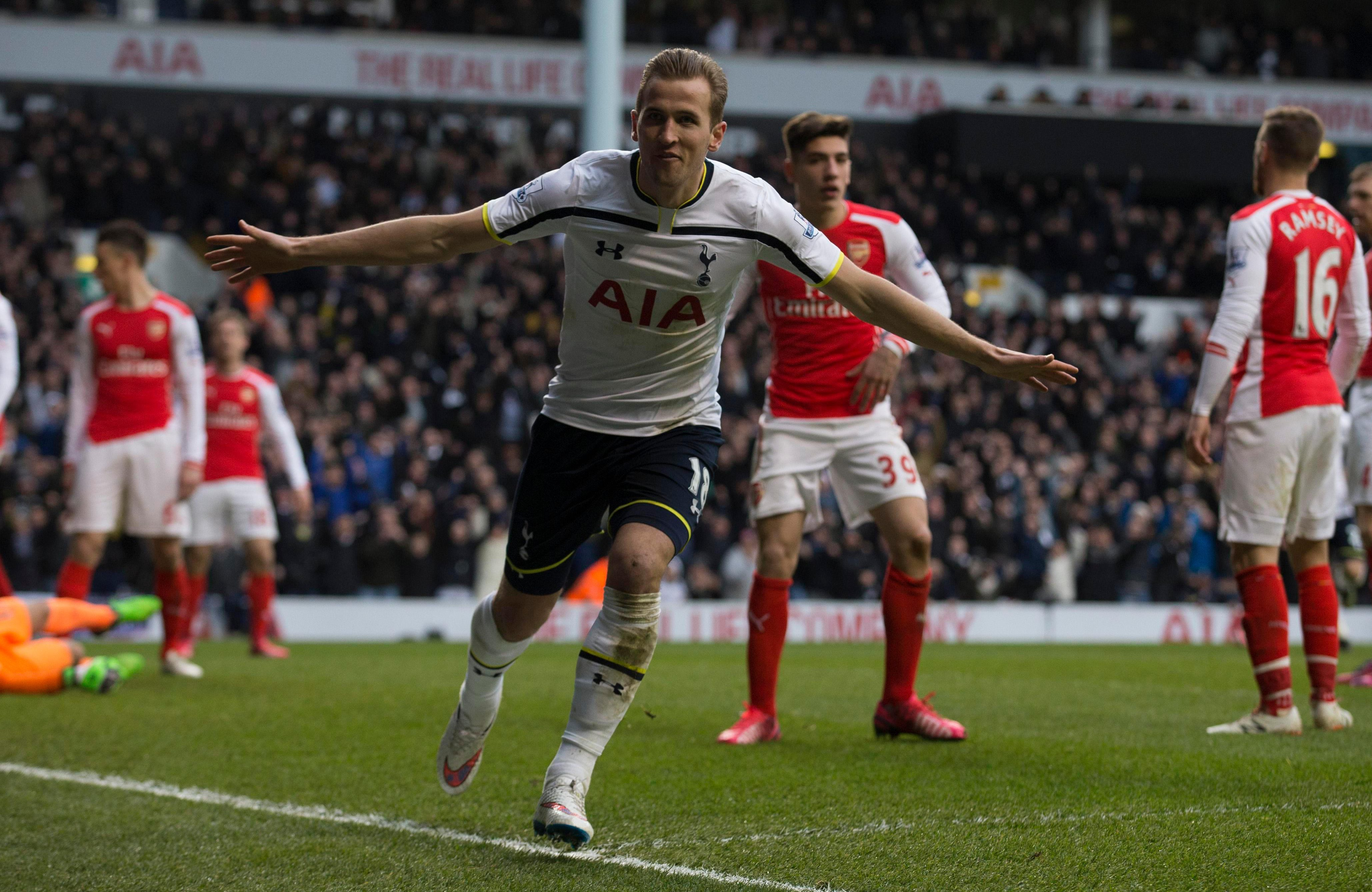 Kane scored twice against the Gunners in his first North London derby