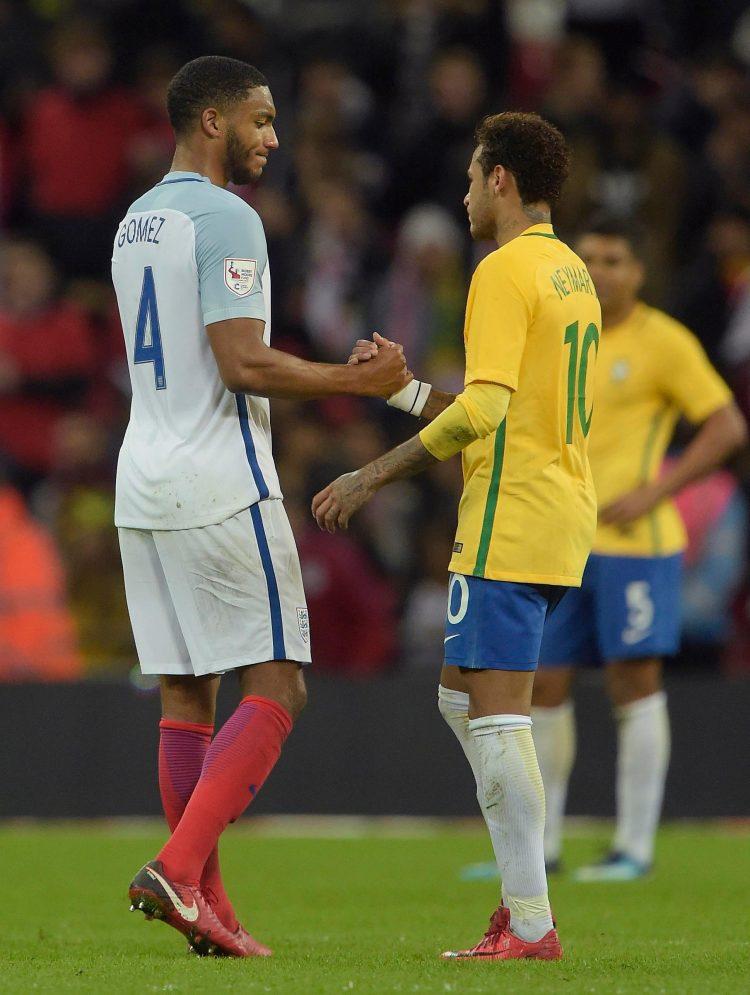 Neymar congratulating Joe Gomez for England World Cup victory