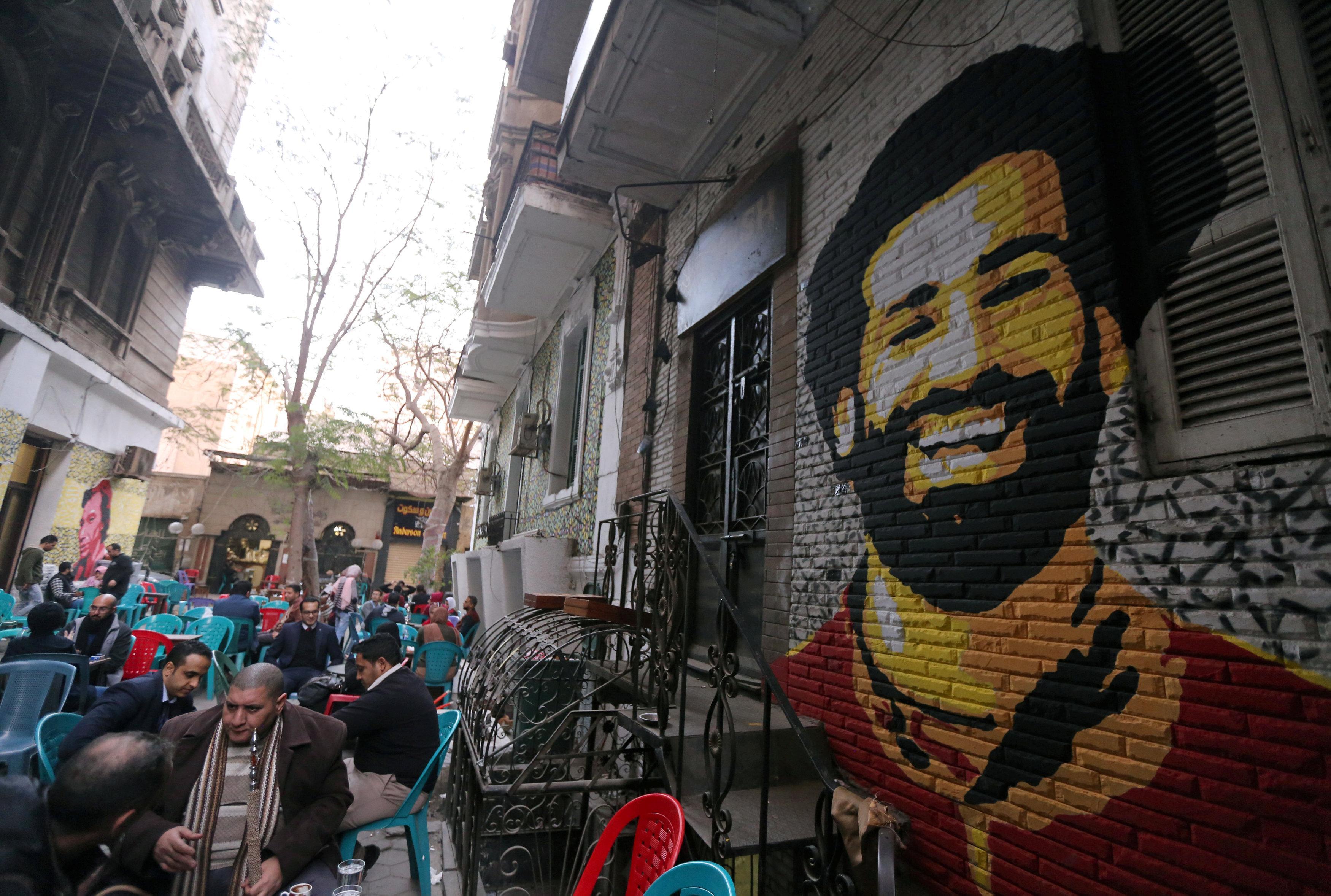 Salah's mural in Cairo