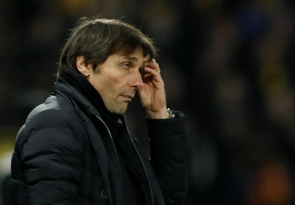 Conte looked dejected at full-time against Watford