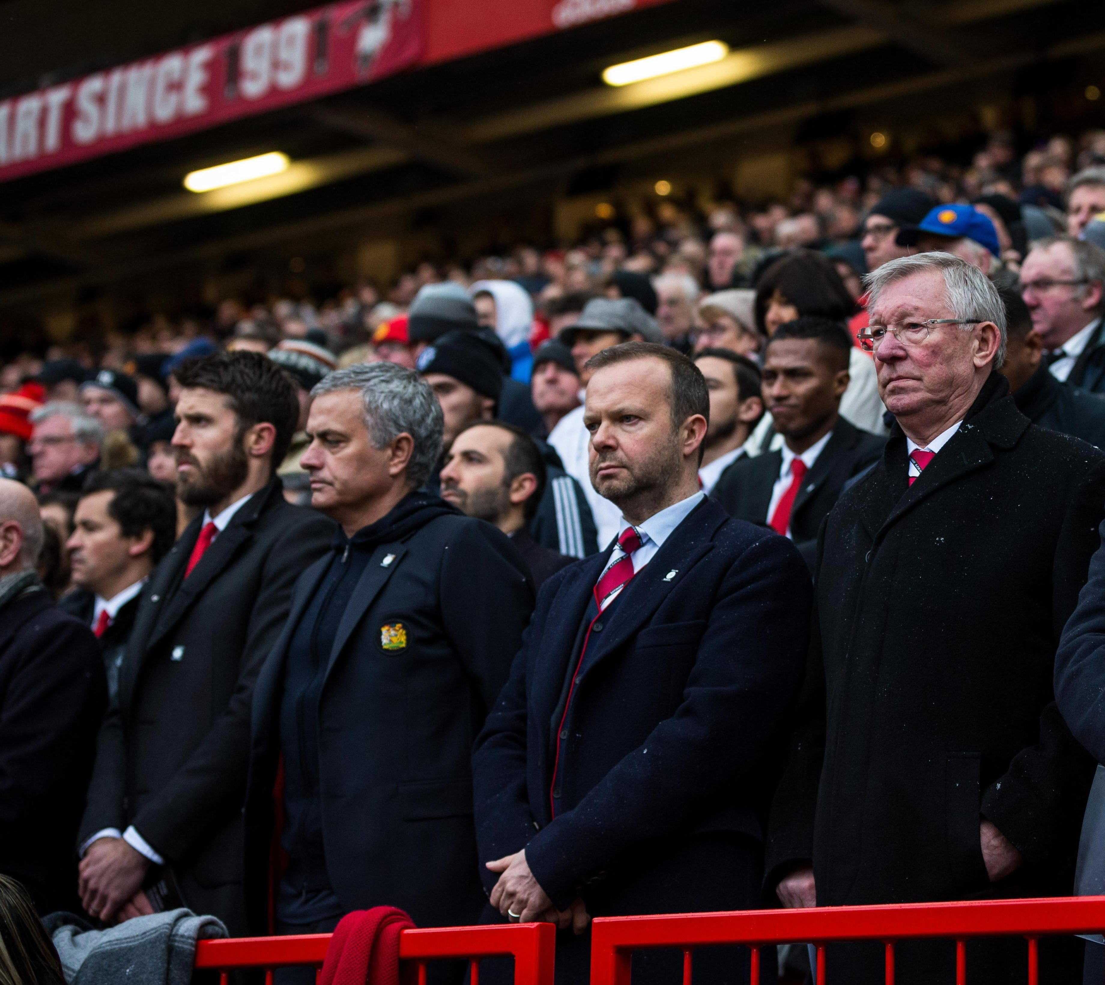 Michael Carrick, Jose Mourinho, Ed Woodward and Sir Alex Ferguson at Old Trafford yesterday