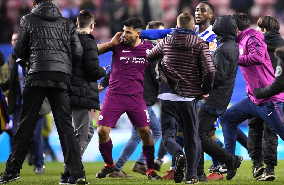 Aguero was surrounded by fans