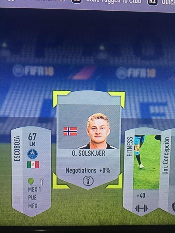The Norwegian's card in FIFA 18