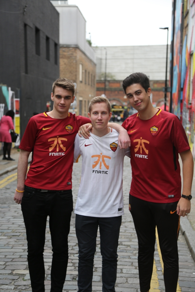 Poacher posses with some of his Fnatic teammates in Shoreditchcredit:Joe Brady