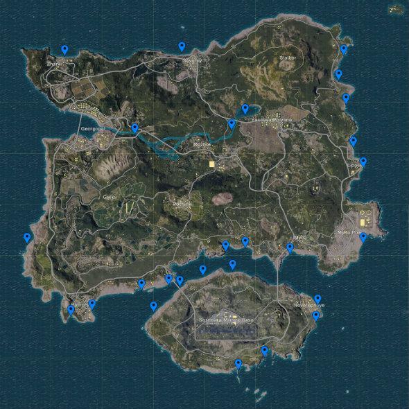 The PUBG Erangel map