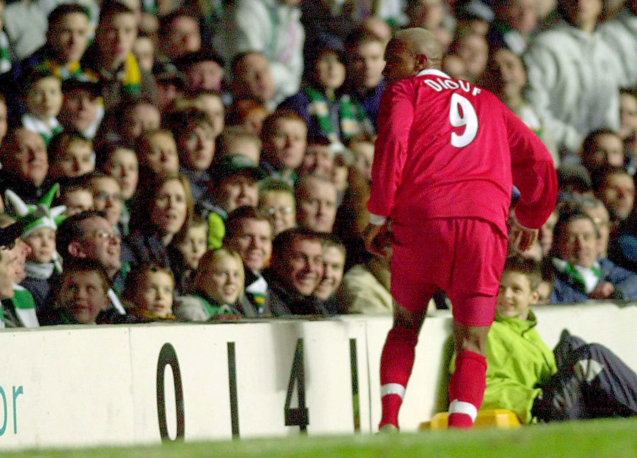 Yep, that's Diouf spitting at at Celtic fans