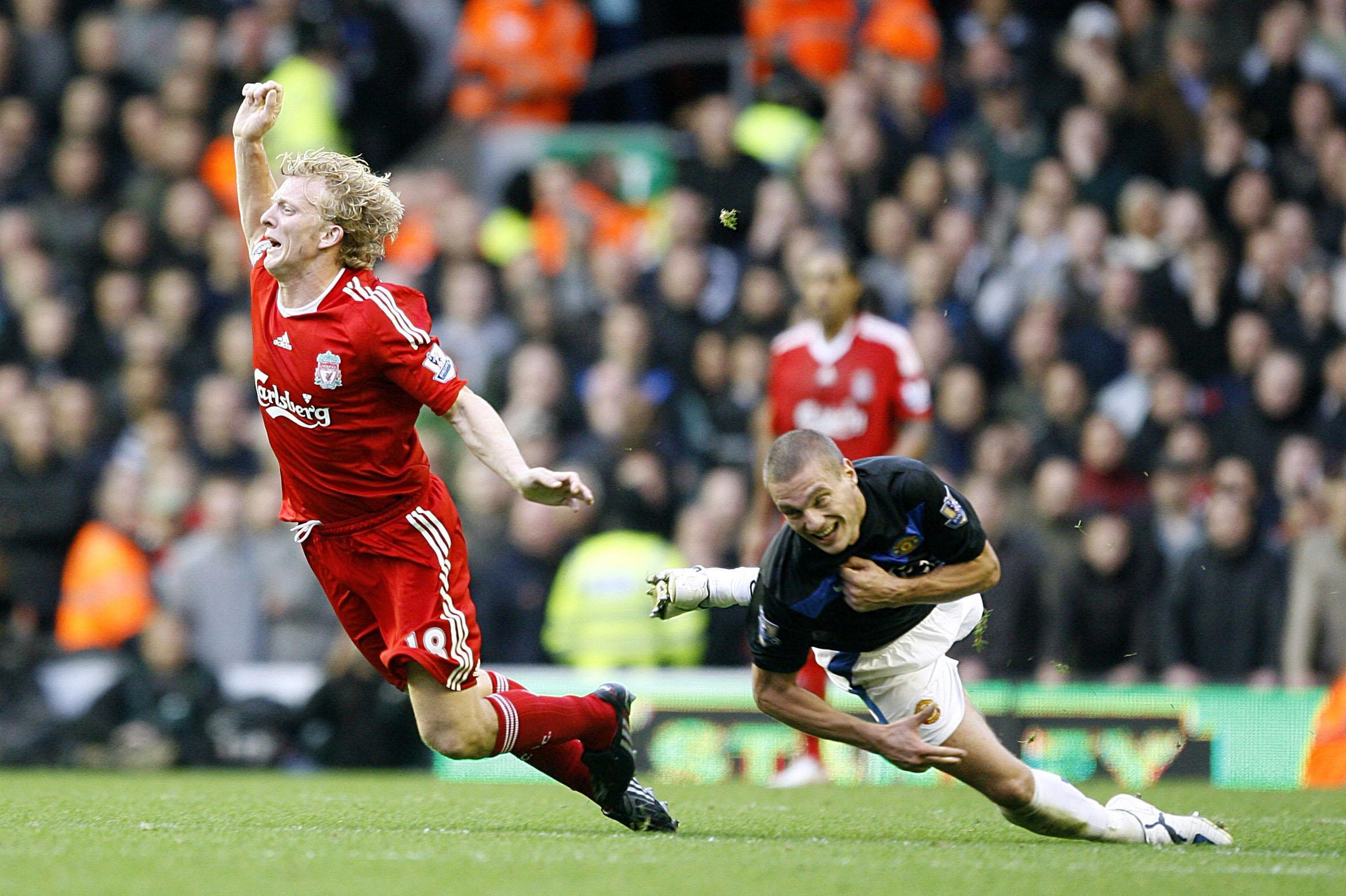Hauling down Kuyt earned him his third red card in the fixture