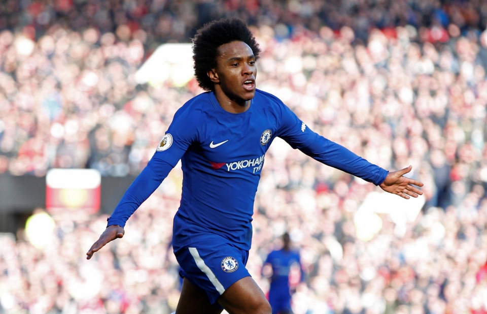 £40m-rated Chelsea star Willian is one of six midfield targets for Man Utd this summer