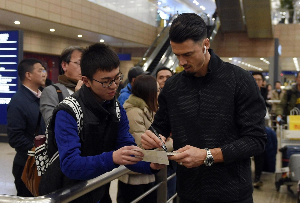 Jose fonte was greeted by a solitary fan as he touched down in China