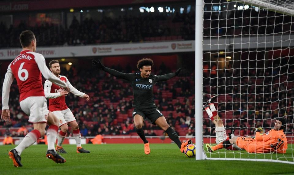 Sane celebrates his goal