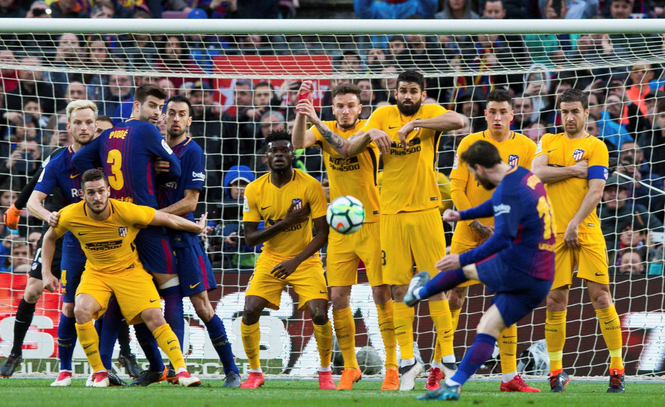 Messi's free-kick was enough to secure Barca a vital win over Atleti