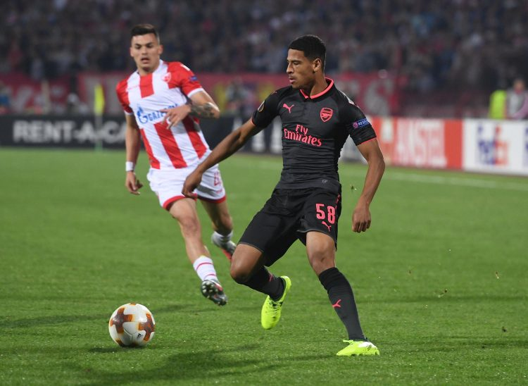 McGuane's first appearance for Arsenal was in the Europa League