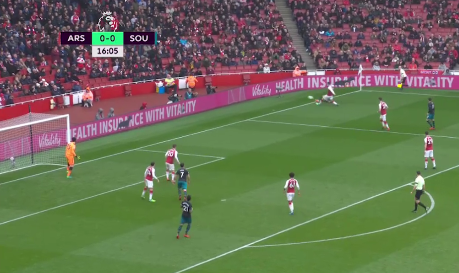 Soares whips a hopeful cross into the box