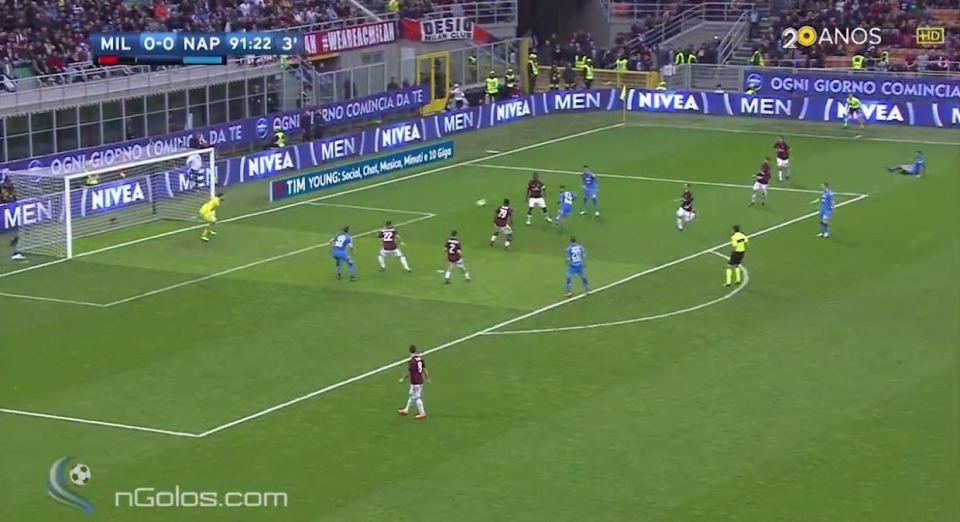 Insigne, the smallest player on the pitch, flicks it on