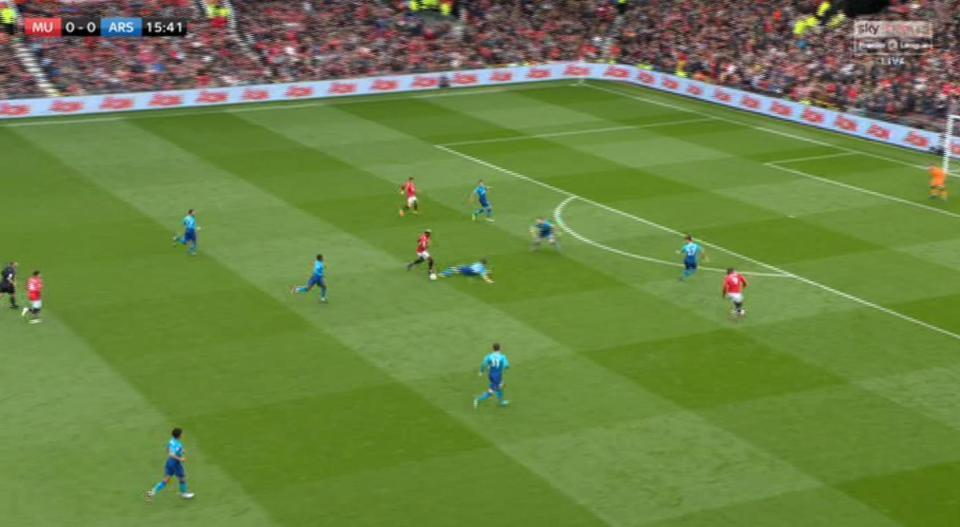 Xhaka went flying in and Pogba just dances round him