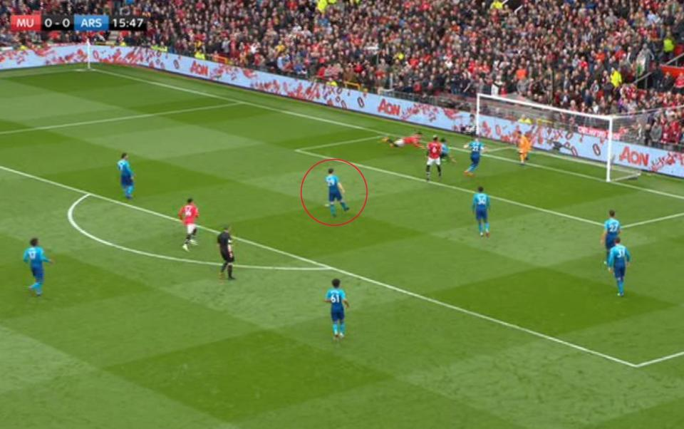 The midfielder decides to stand on the penalty spot and just watch Pogba follow in for the scraps