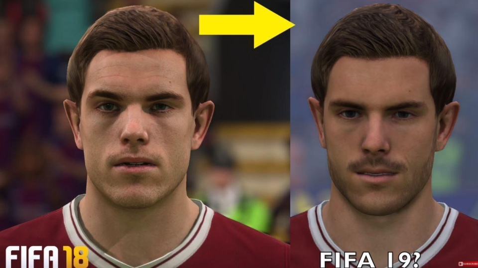 Henderson's features have been softened while facial hair has been added, which works well