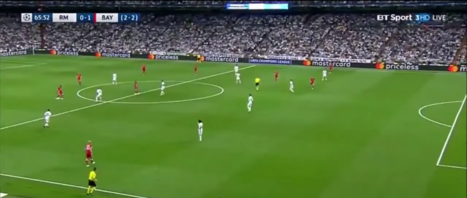 The line in the grass shows the striker was onside