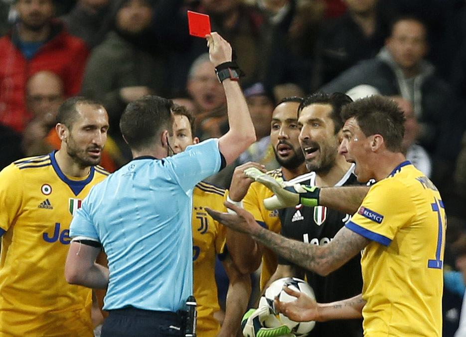 Image result for buffon red card