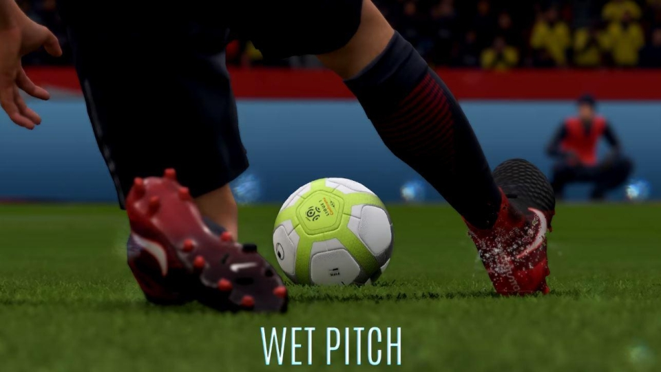 Wet pitches flick up water droplets