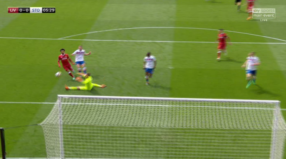 Salah decided to dink it over the England international but the ball went wide