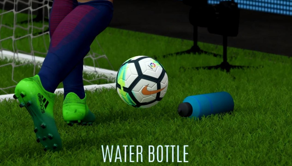 Water bottles move if the ball collides with them