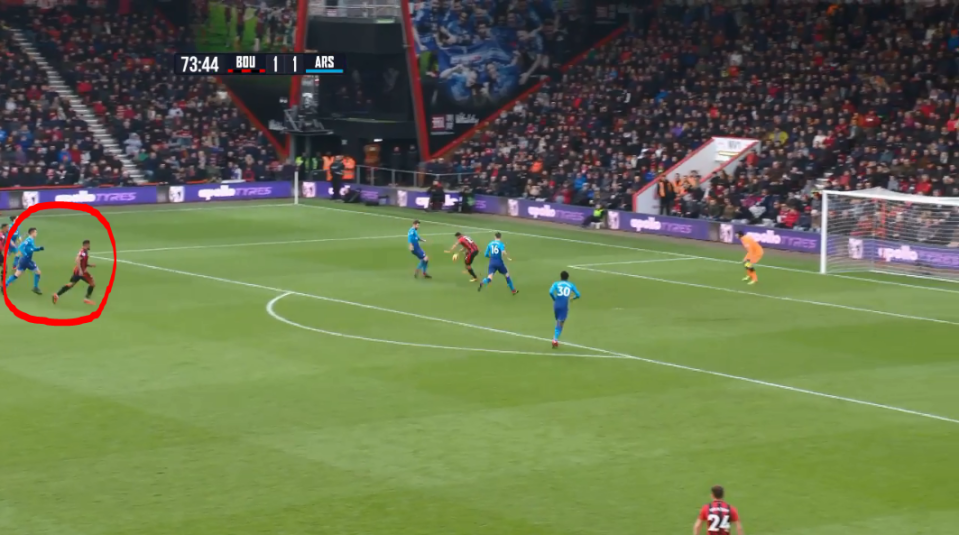 Ibe finds himself ahead of his man as Callum Wilson lays the ball back
