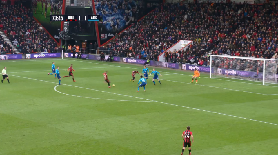 Xhaka gets a front row seat to watch the Bournemouth man score