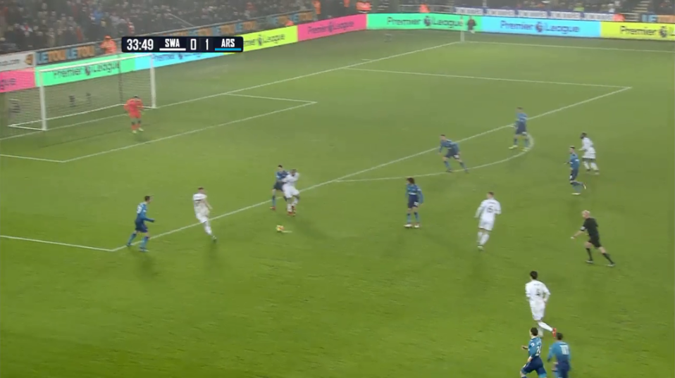 He fails to track the Swansea midfielder and lets him run free