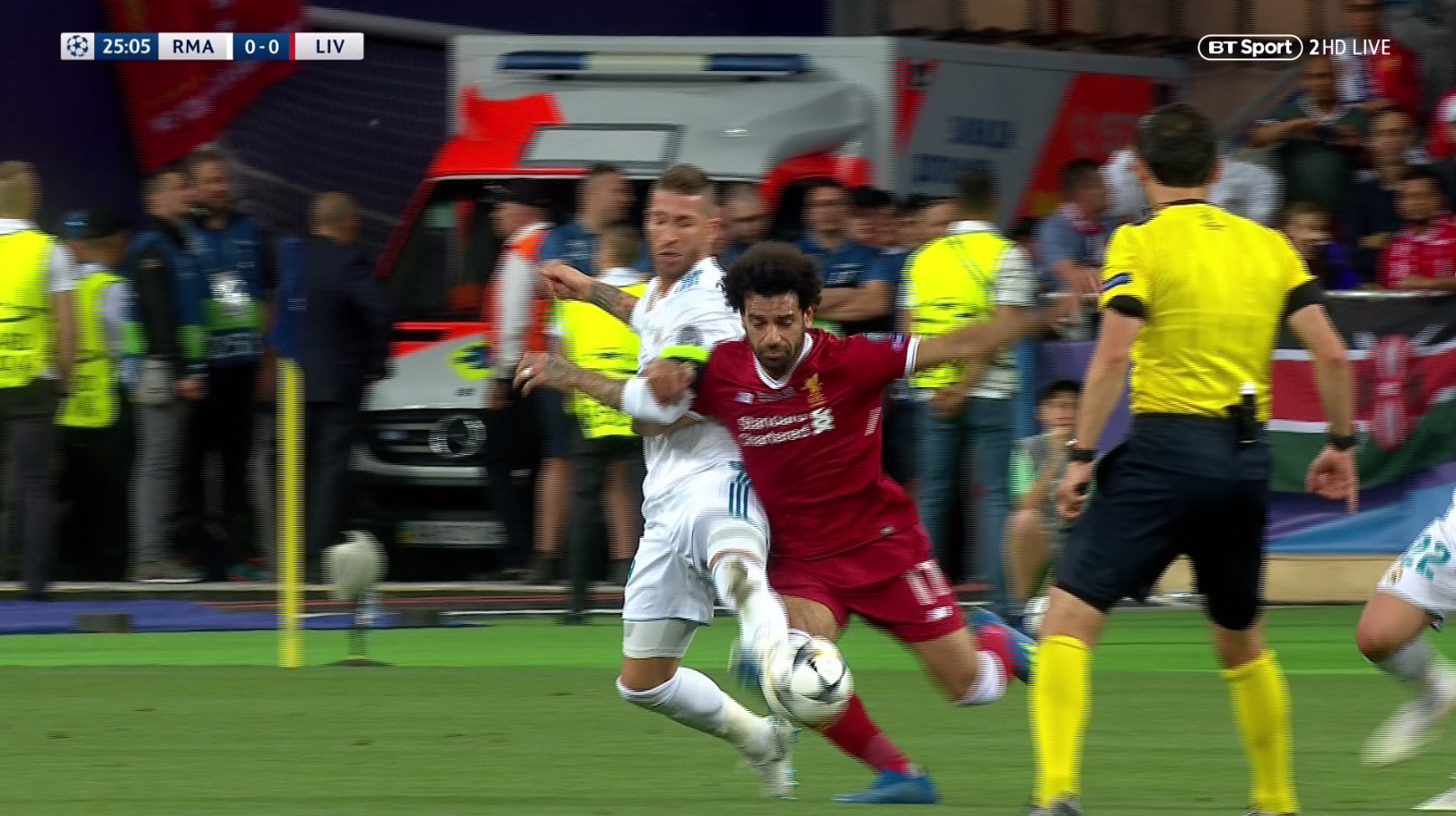 Ramos got hold of Salah's arm and pulled him down