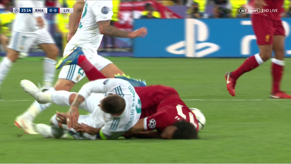 The pair crashed against the pitch with Salah coming off worse