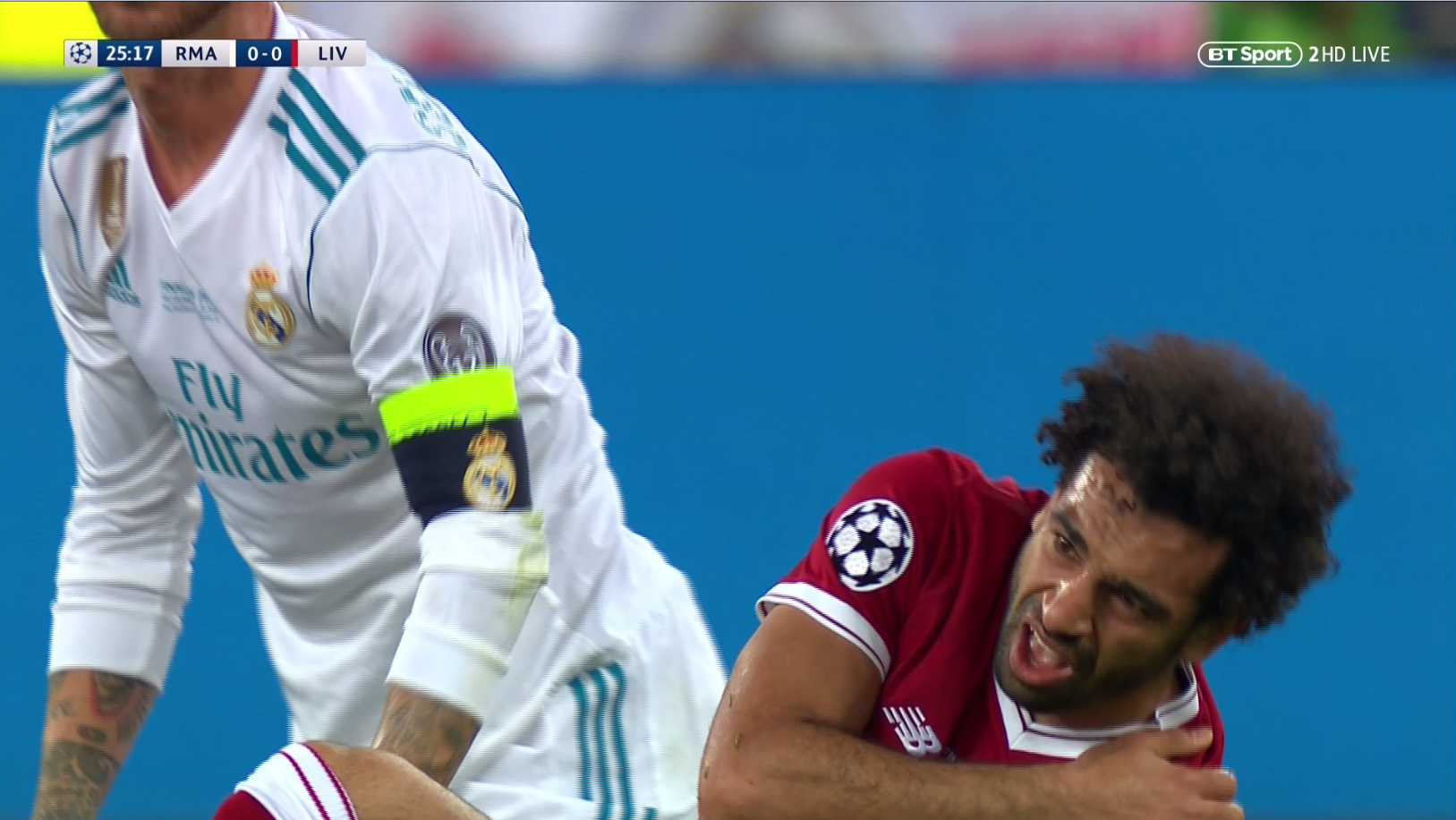 A visibly distraught Salah held his shoulder immediately after the fall