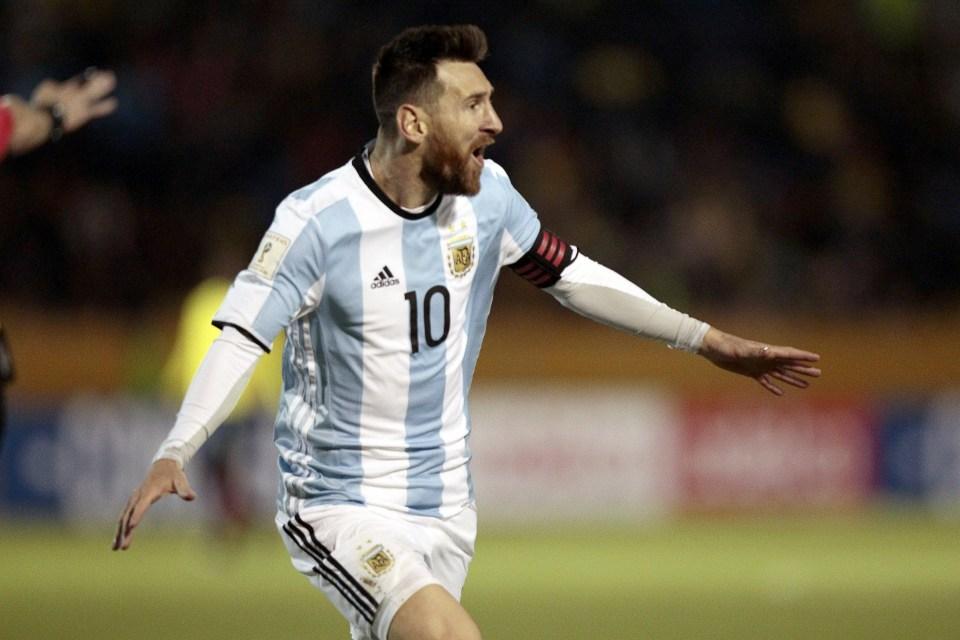 Celebrating his sensational hat-trick against Ecuador