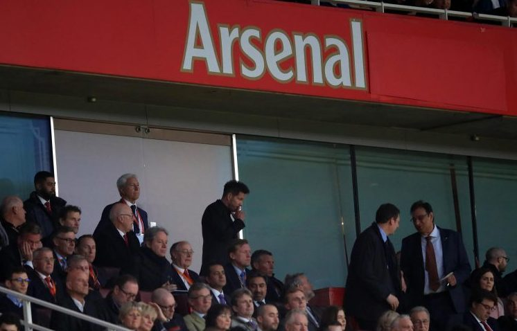 Diego Simeone getting in amongst the top boys at the Emirates