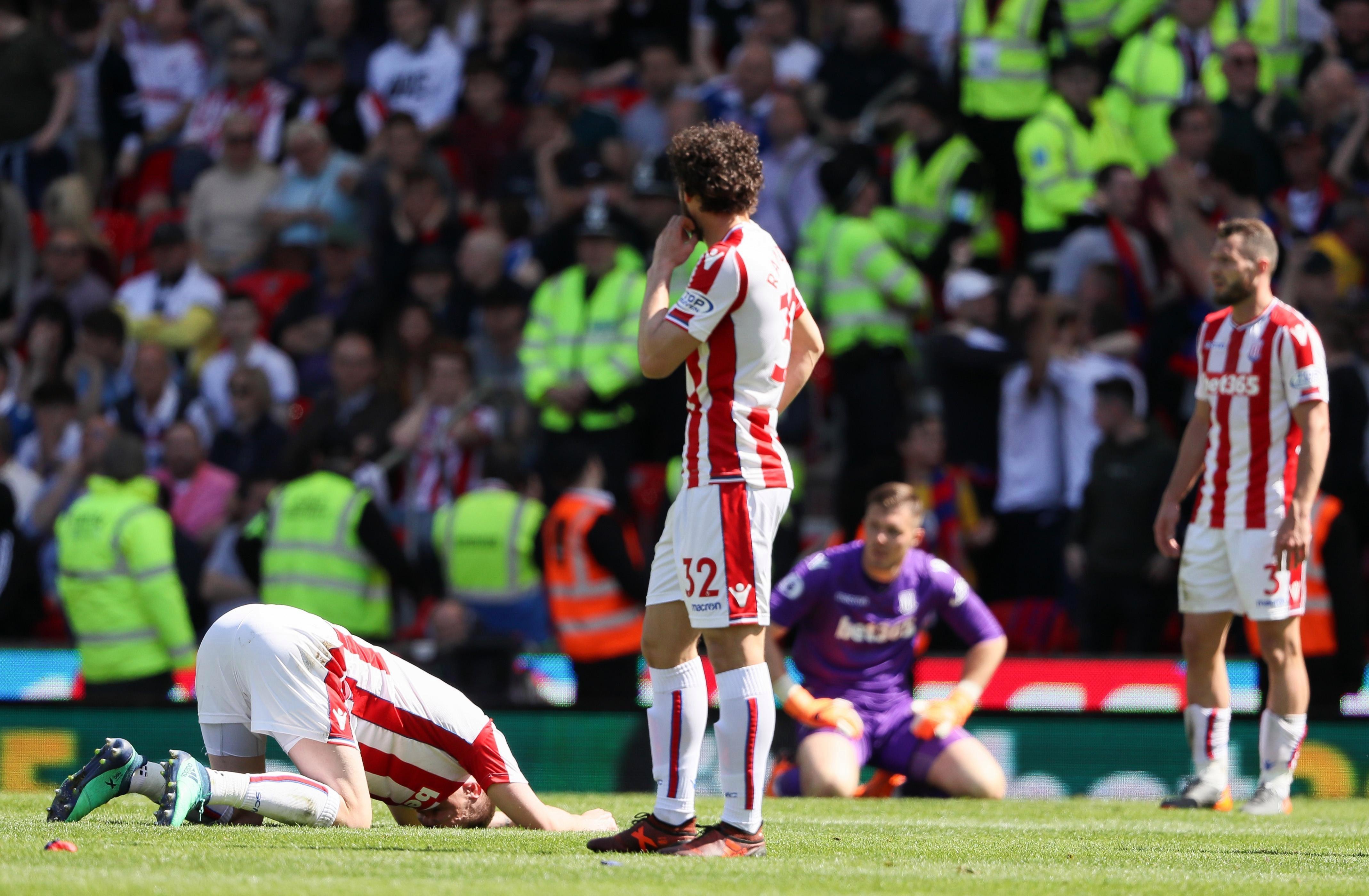 Some sad Stoke players