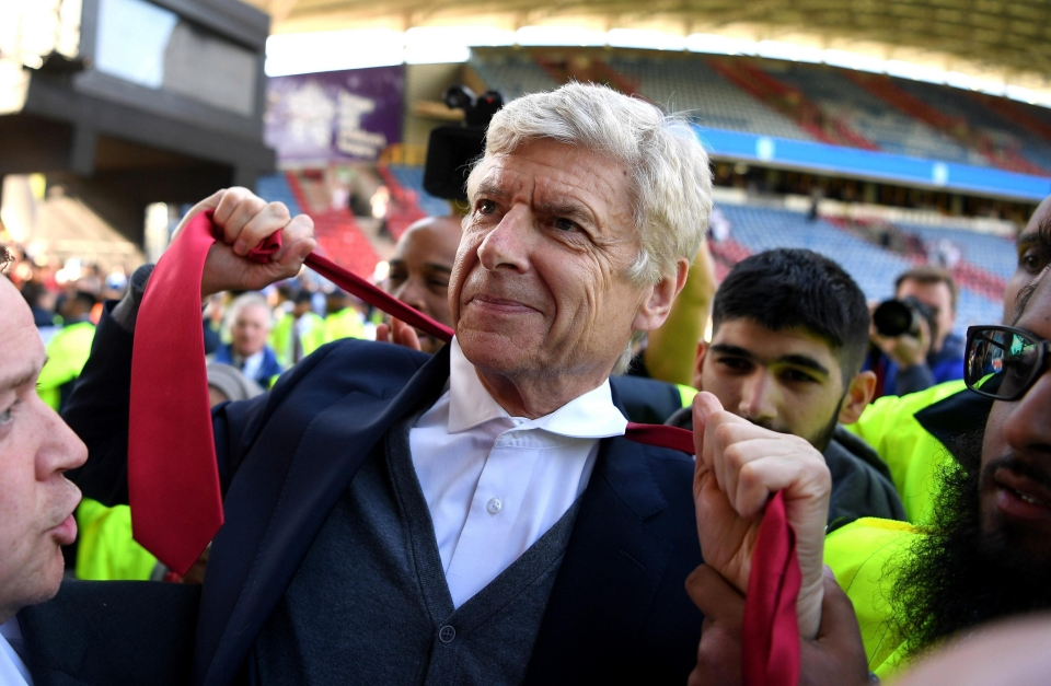 Arsene Wenger left Arsenal after beating Huddersfield on Sunday