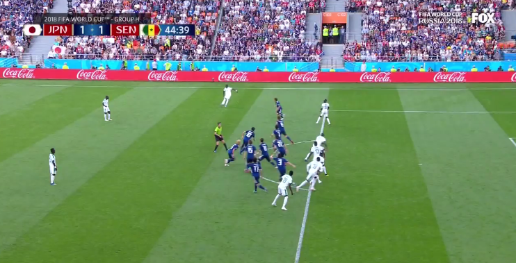 Timed excellently, Senegal are suddenly caught with six players in an offside position
