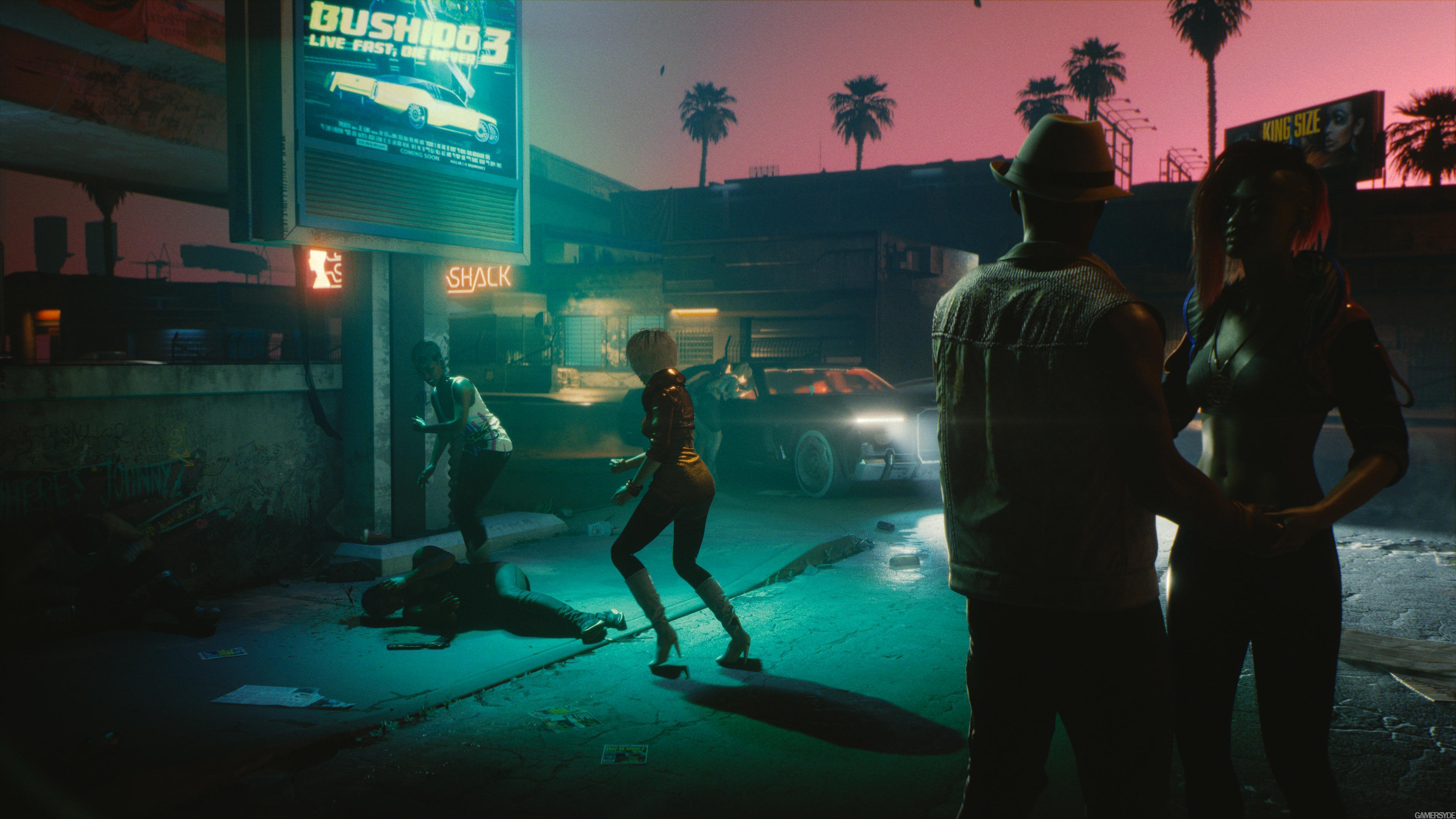 Eerie dark streets, reminiscent of the original Blade Runner movie