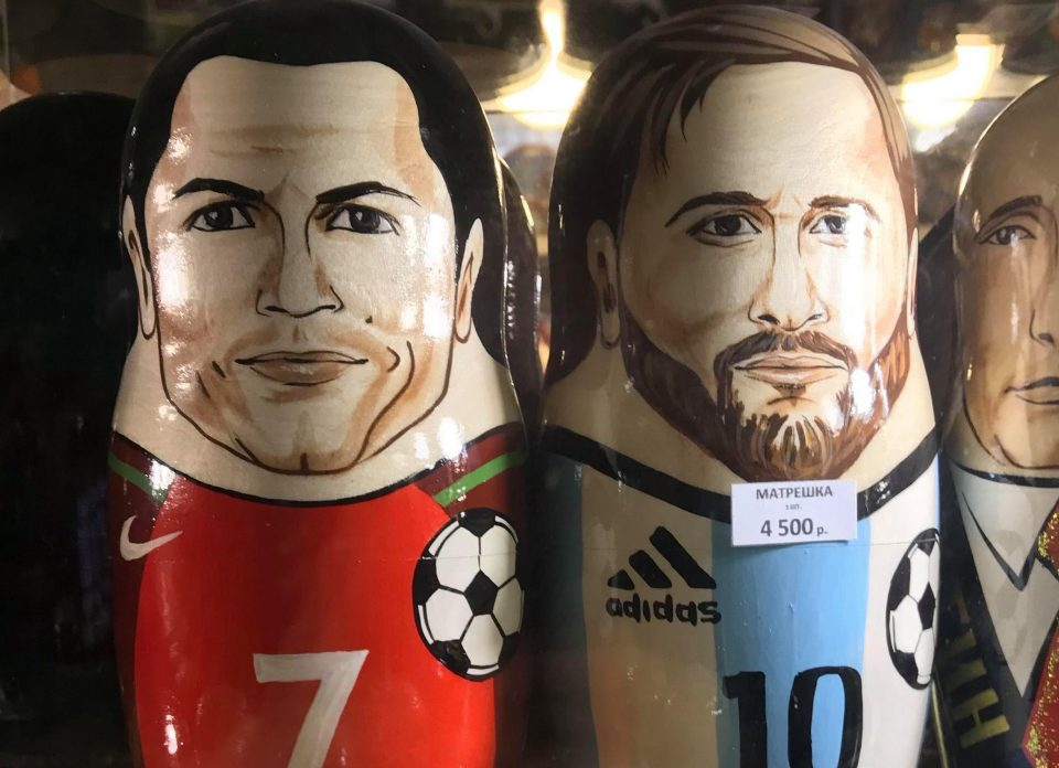Are they Ronaldo and Messi Russian dolls? Naturally. Are we going to buy one? You bet your bottom Rouble we are