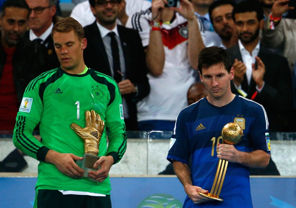 Messi picked up the Golden Ball after Argentina reached the final four years ago