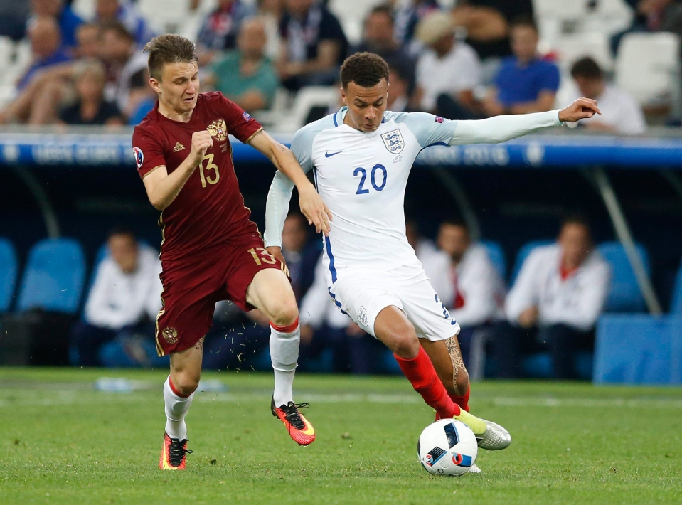 Golovin played as England drew to Russia 1-1 at Euro 2016